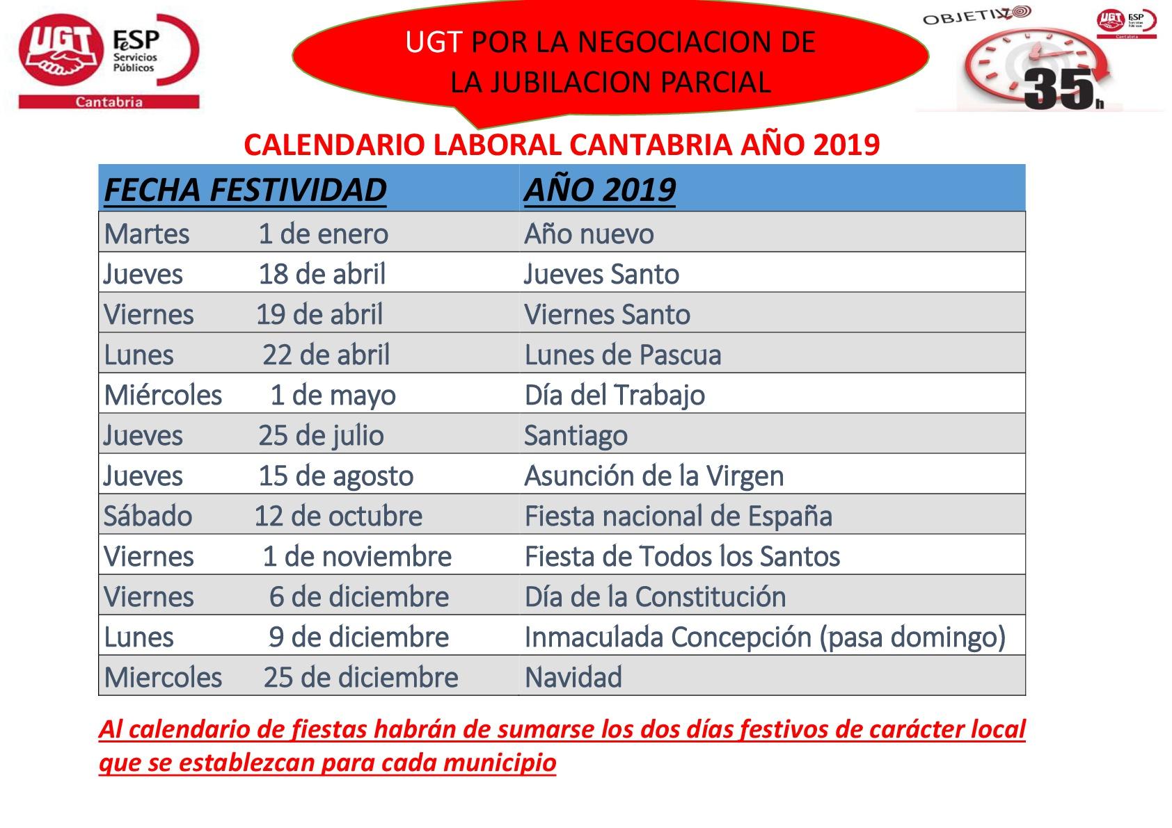 3cbf0b65a5f CALENDARIO LABORAL CANTABRIA AÑO 2019 - Sanidad en UGTCantabria ...